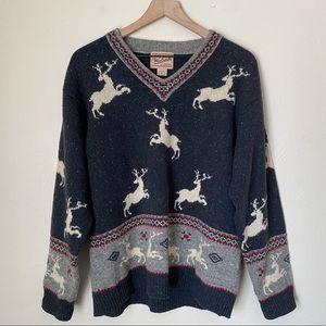 Vintage Woolrich Reindeer Wool Pullover Sweater